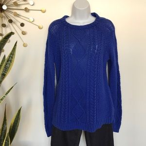 Zara knit blue chunky cable knit sweater large
